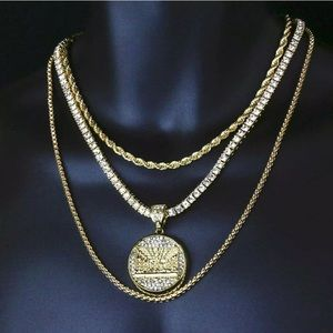 4 pcs Gold Chains & Last Supper Iced Out Pendant